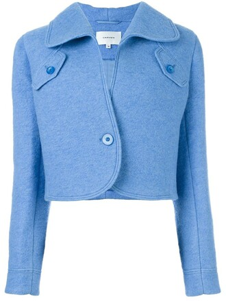 jacket cropped jacket cropped women blue wool