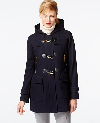 Michael Kors Faux-Leather-Trim Hooded Duffle Coat - Coats - Women ...