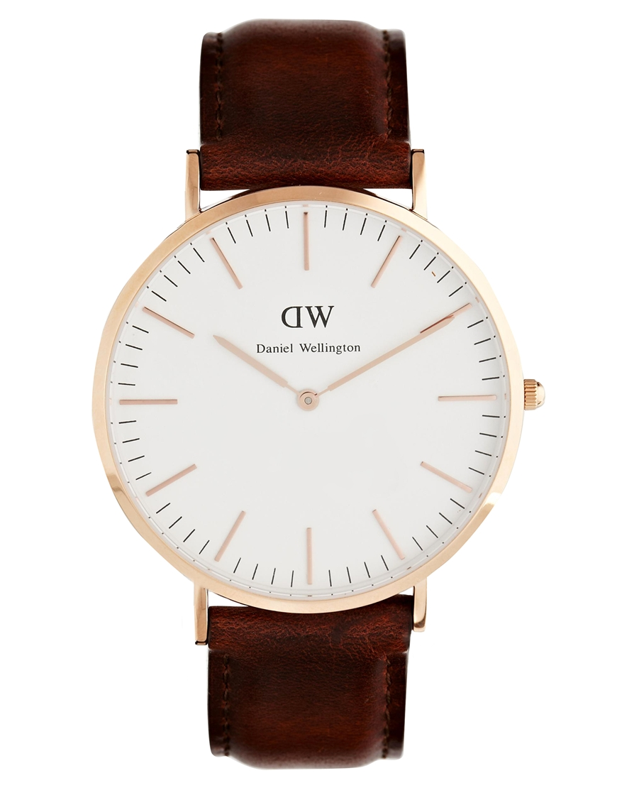 Daniel Wellington St Andrews Rose Gold Brown Leather Strap Watch at asos.com