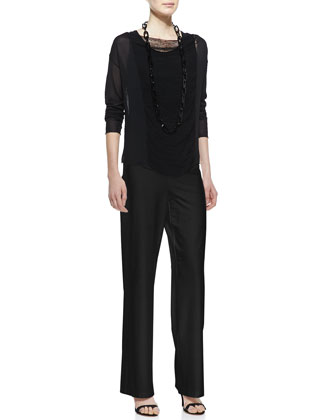 Eileen Fisher Paneled Mesh Long-Sleeve Top, Stretch Silk Jersey Tank  & Modern Wide-Leg Pants, Petite