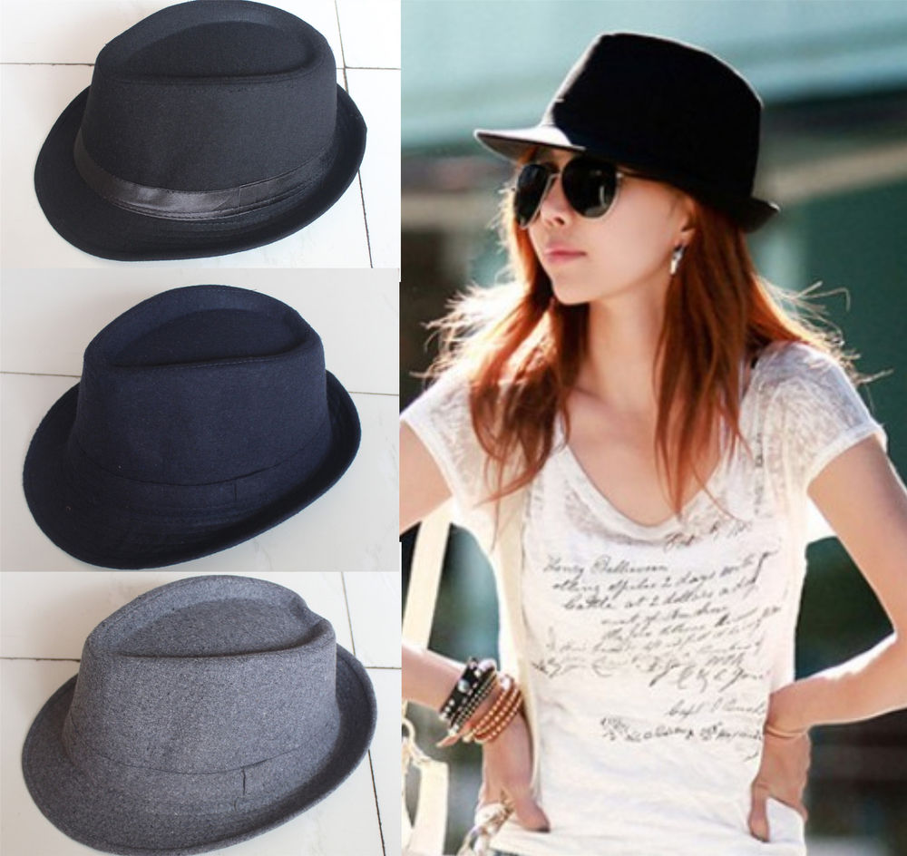 Hot Men Women Fedora Panama Felt Trilby Jazz Woolen Gangster Hat Homburg Cap | eBay