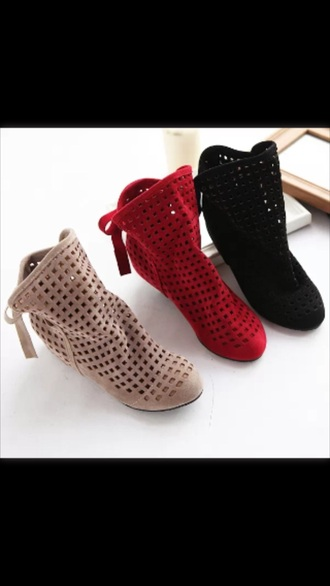 shoes tan black booties red laser cut hidden wedge