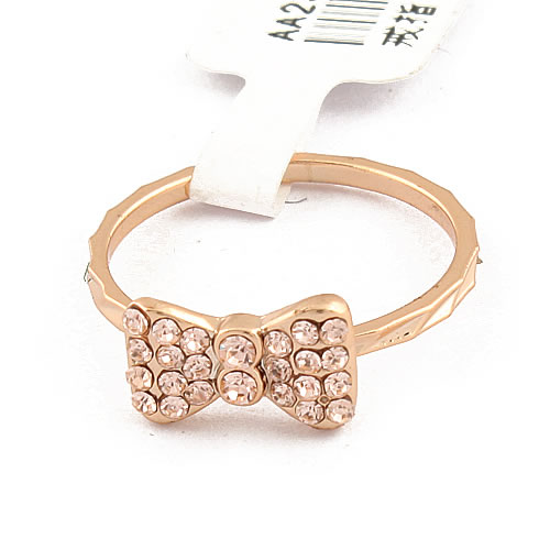 Korea Anciently Gold Bowknot Alloy Rhinestone Rings - DualShine