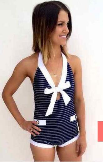 swimwear blue white suit halter neck cruise sailor flattering one piece