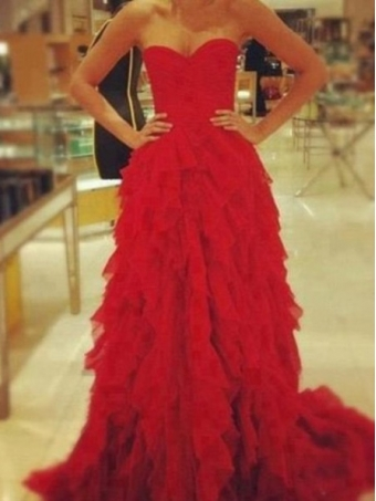 Amazing red a line sweetheart court train prom dress, evening dresses, formal dresses [b00217]