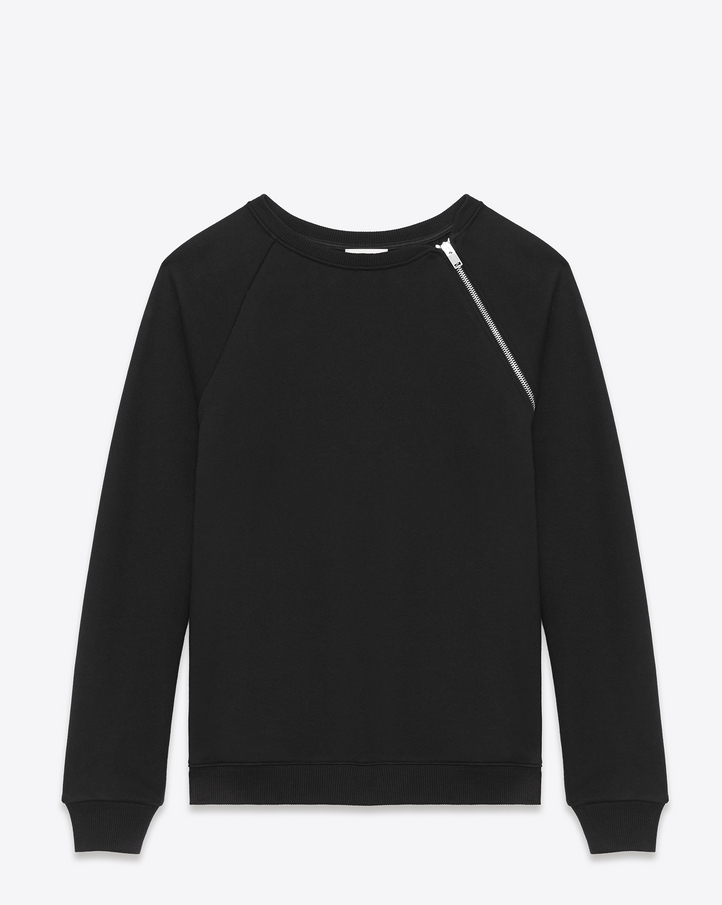 Saint Laurent CLASSIC CREWNECK SWEATSHIRT With Zipper IN Black FRENCH TERRYCLOTH | ysl.com