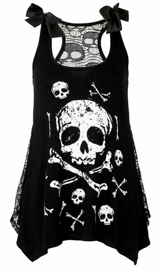shirt black t-shirt skull t-shirt cute top