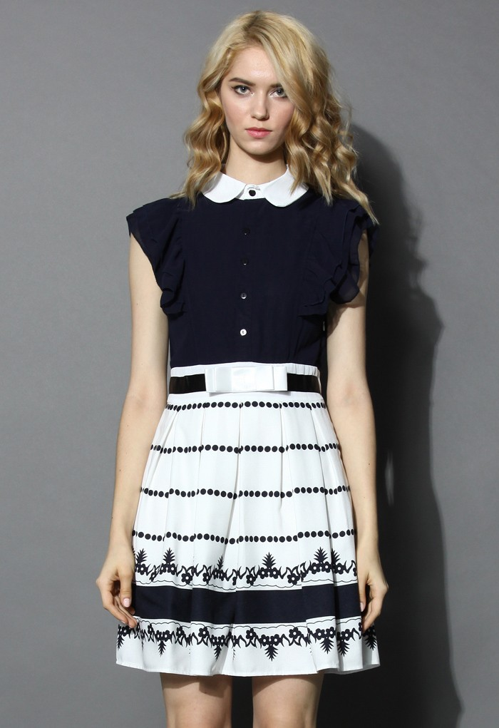 Frills Pleated Dress with Peter Pan Collar - Retro, Indie and Unique Fashion