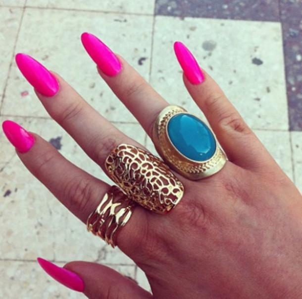 jewels hot pink nail polish tank top