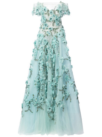 dress evening dress women embellished floral silk green