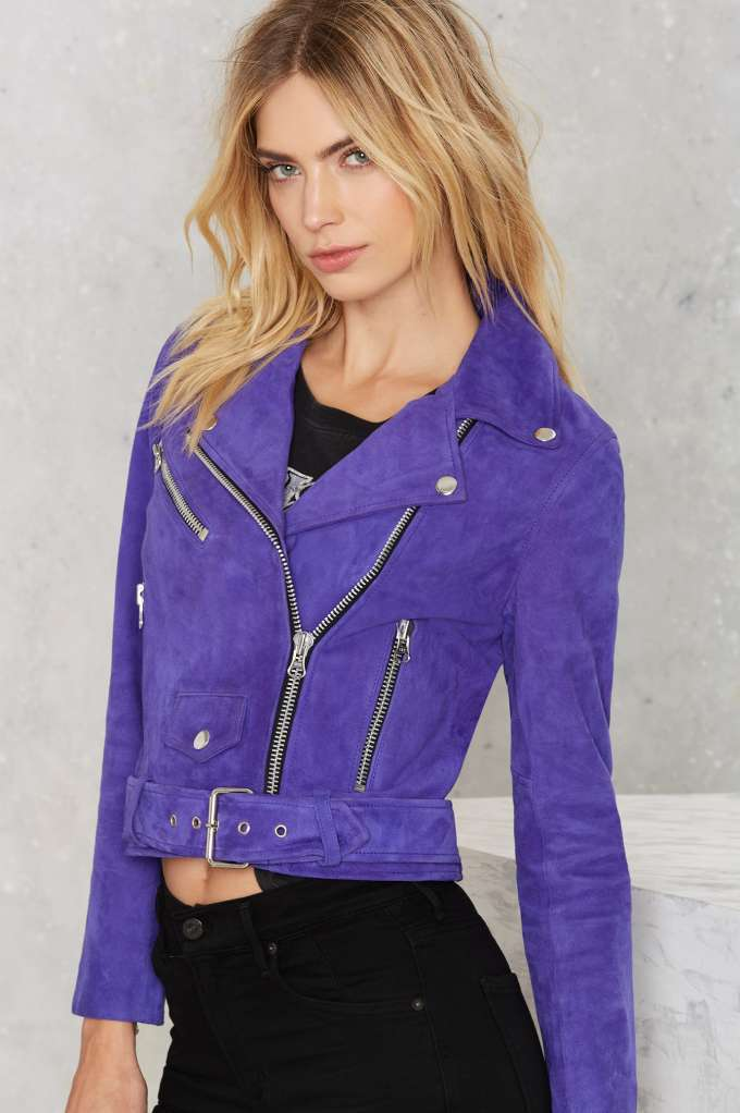 detailed images special buy purchase original Nasty Gal Electric Youth Suede Moto Jacket