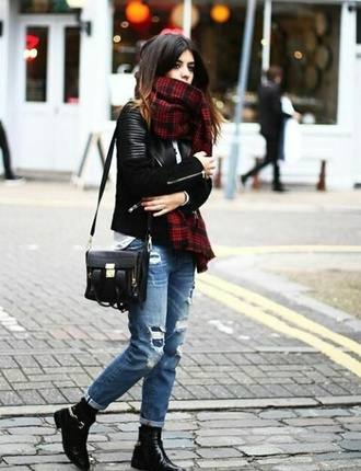 scarf red black flannel scarf jeans street style bag jacket