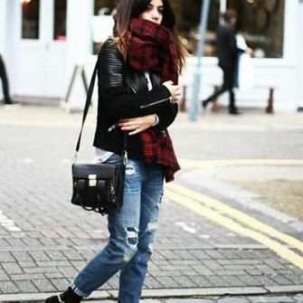 red scarf jacket black jeans style bag flannel scarf street scarf red