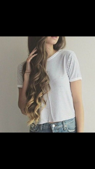top black and white stripes crop tops short sleeve
