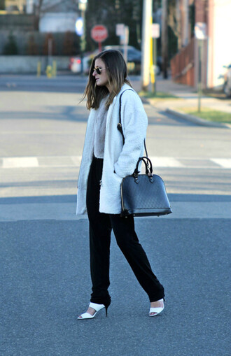 to be bright blogger jumpsuit sandals fuzzy coat coat shoes bag white fluffy coat white coat black bag black pants work outfits office outfits sunglasses sandal heels white sandals