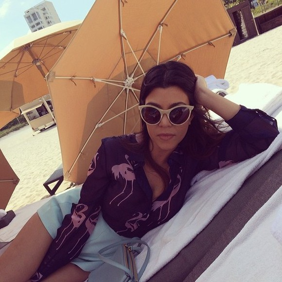 kourtney kardashian blouse kourtney flamingo pink pink flamingo cute sunglasses shorts pretty