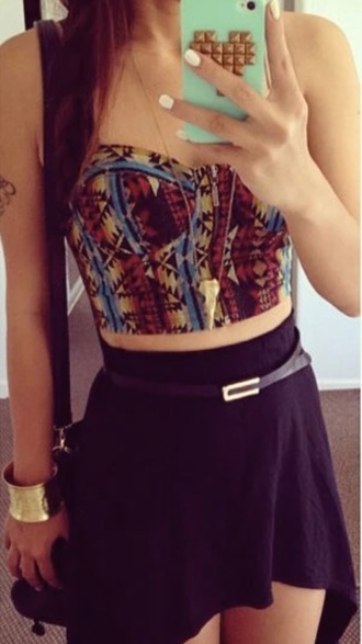 shirt top crop tops tank top tribal pattern crop bustier skirt belt