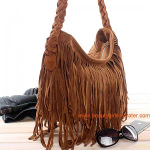 FX Suede BoHo Fringe Purse Shoulder Messenger Handbags brown
