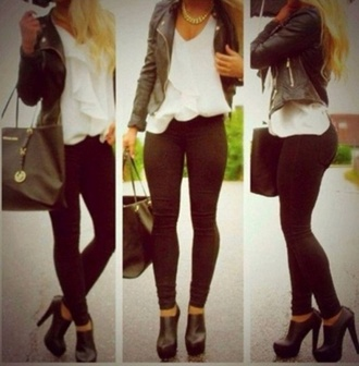 jacket black cute leather jacket wanted zip shoes