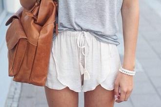 shorts white summer cute bag