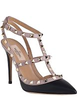 Valentino Rockstud Pump Powder/Black Leather - Jildor Shoes, Since 1949