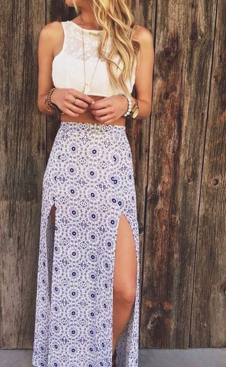 skirt maxi skirt blue and white top white top lace top summer hot dress pattern boho summer dress summer outfits indie boho chic boho dress maxi dress with slits double slit skirt blue skirt maxi dress patterned skirt hippie gypsy