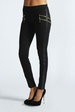 Luana Double Side Zip Thick Treggings at boohoo.com
