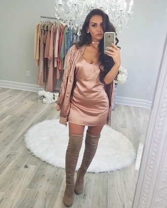 dress mauve pink mauve rose gold metallic metallic dress mini dress instagram brunette curly hair nude neutral neutrals silk metallic dress instagram baddie instagram dress baddies nude dress nudes carli bybel missguided