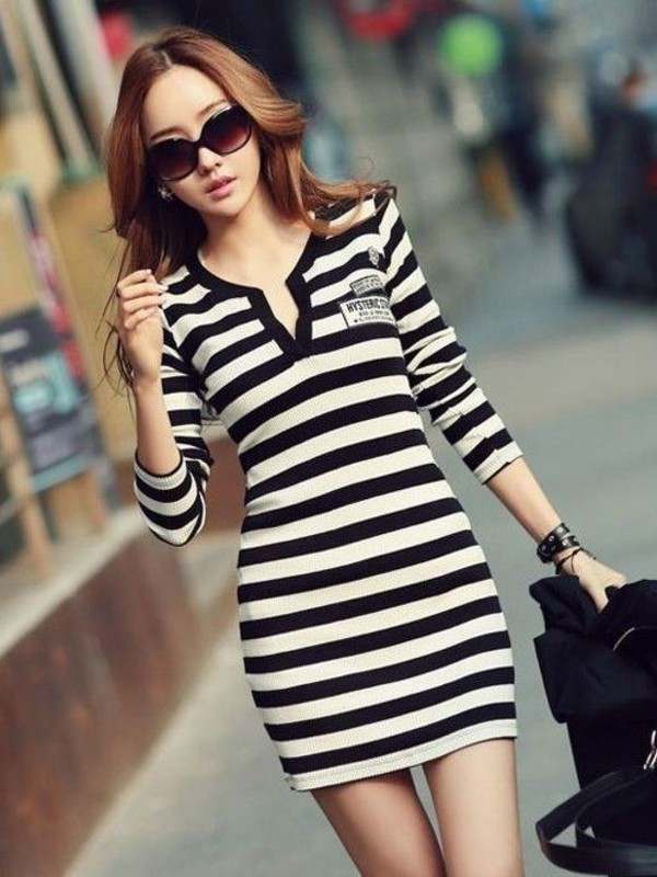 dress black and white black and white stripes