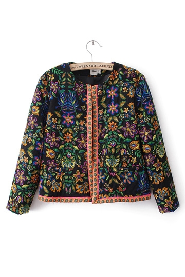Floral Print Guilted Jacket [FEBK0161]- US$45.99 - PersunMall.com