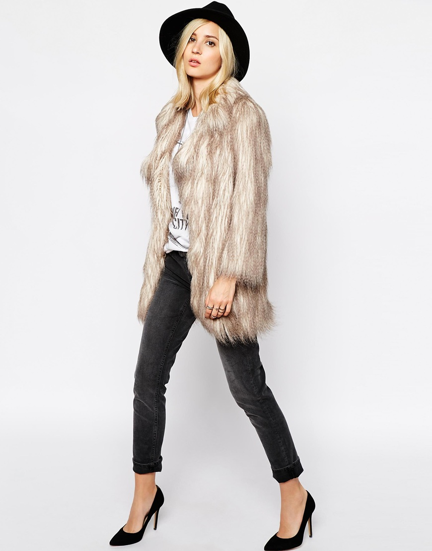 River Island Faux Fur Shaggy Jacket at asos.com