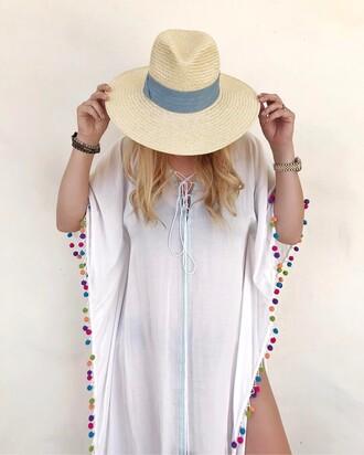 dress tumblr hat pom poms cover up kaftan sun hat