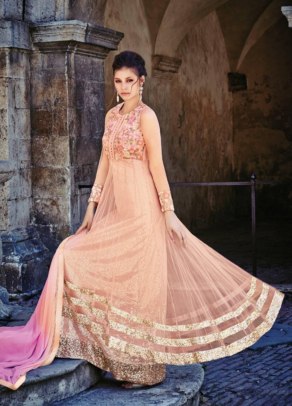 Latest Net Party Wear Gown Style Suit Online