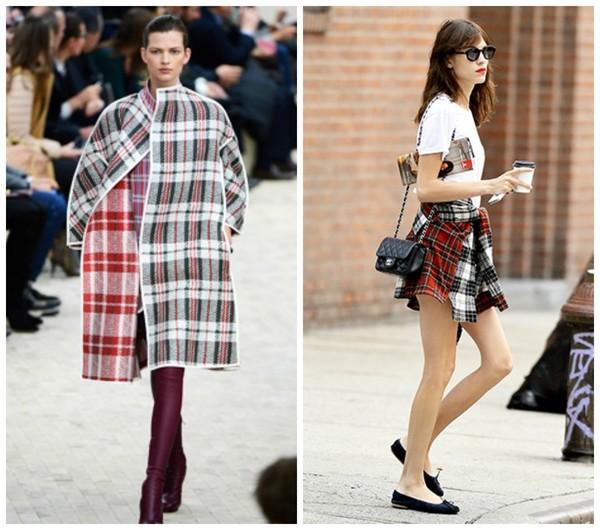 skirt alexa chung tartan coat