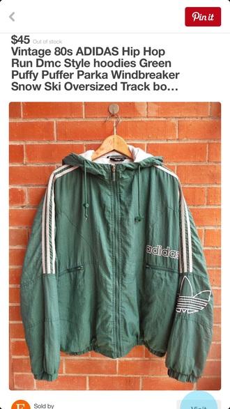 jacket adidas adidas jacket adidaswindbreaker mens jacket parka green lightgreen vintage 80s style 1980s rundmc running hoodie