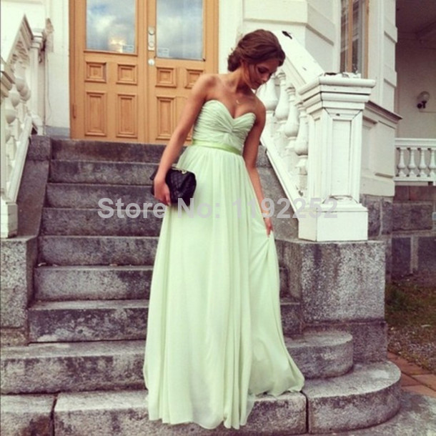 Aliexpress.com : Buy Natural Real Made Free Shipping Charming Sexy Sweetheart Chiffon Bridesmaid Dresses Floor length A line Bridal Gown 2014 New from Reliable dress up women and girls suppliers on readdress