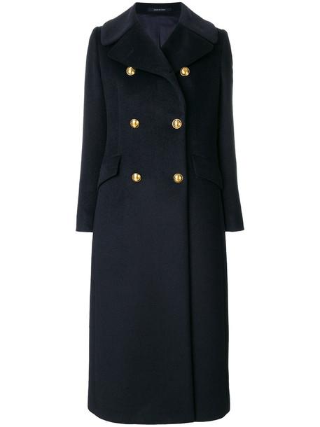 TAGLIATORE coat long women blue wool