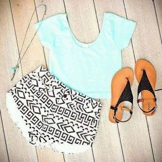 shorts denim pattern blue shirt black sandals necklace