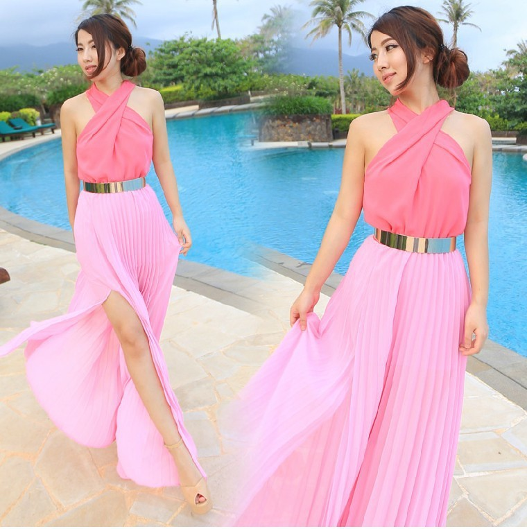 Fashion cute chiffon dress with belt