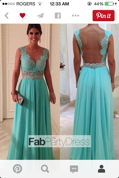 dress blue lace prom dress