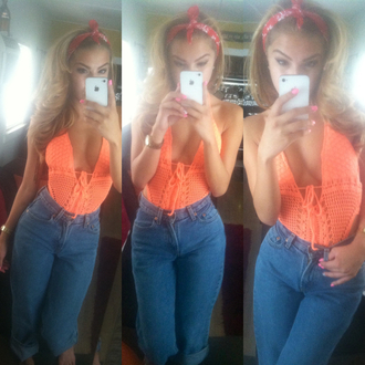 shirt bikini crochet high waisted orange blue skinny jeans one piece