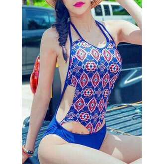 swimwear rose wholesale vintage boho chic backless girl tribal pattern girly hippie indie