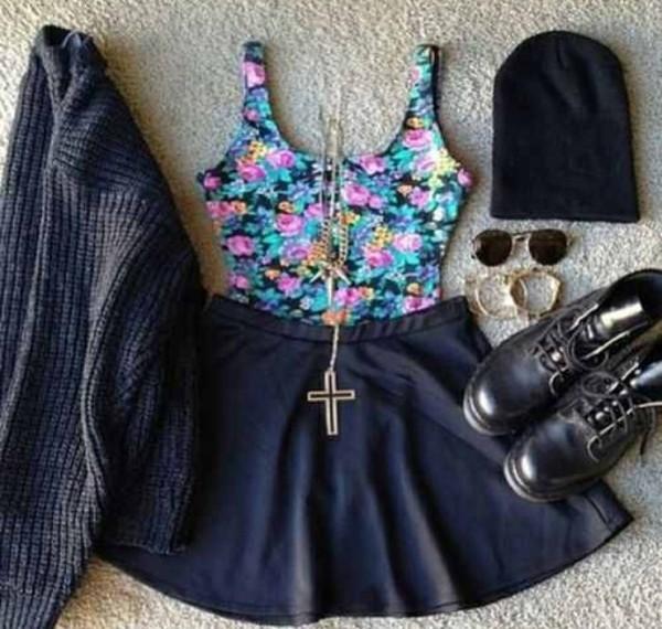 jacket floral jewelry beanie cross grunge boho hipster alternative hipster punk shirt skirt