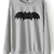 Grey Long Sleeve Bat Print Loose Sweatshirt - Sheinside.com