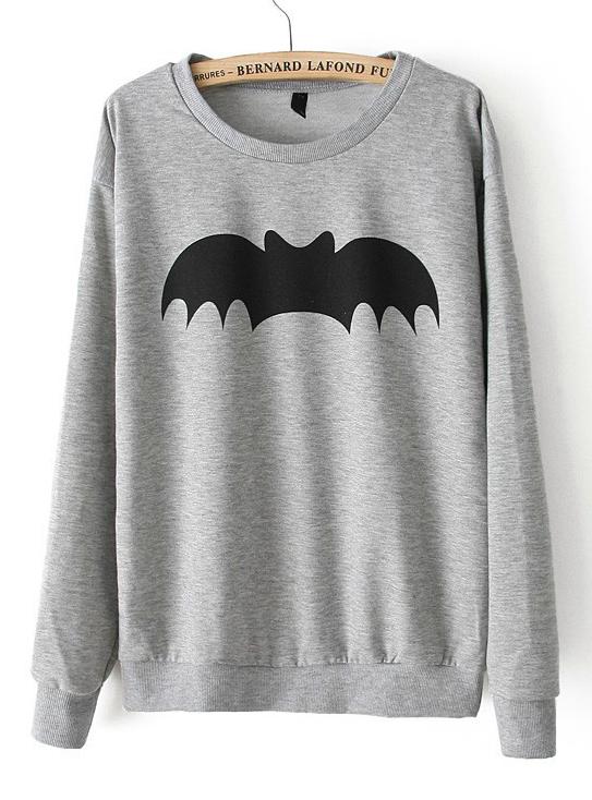 Grey Long Sleeve Bat Print Loose Sweatshirt - Sheinside.com
