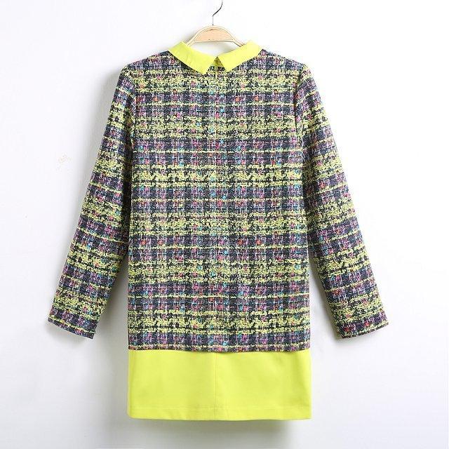 Fashoin Enchating Fashionable Dizzying Yellow Blending Constrast Lapel Long Sleeve Print Fashion Dresses CX502-1 US$26.7