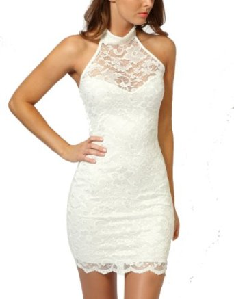 Amazon.com: Women's Sexy Polo Neck Floral Lace Cocktail Evening Mini Dress Party Clubwear (White): Clothing