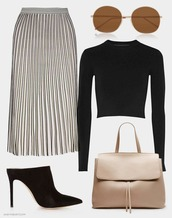 andy heart,blogger,pleated skirt,black crop top,black heels,nude bag,minimalist,classy