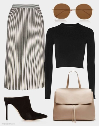 andy heart blogger pleated skirt black crop top black heels nude bag minimalist classy