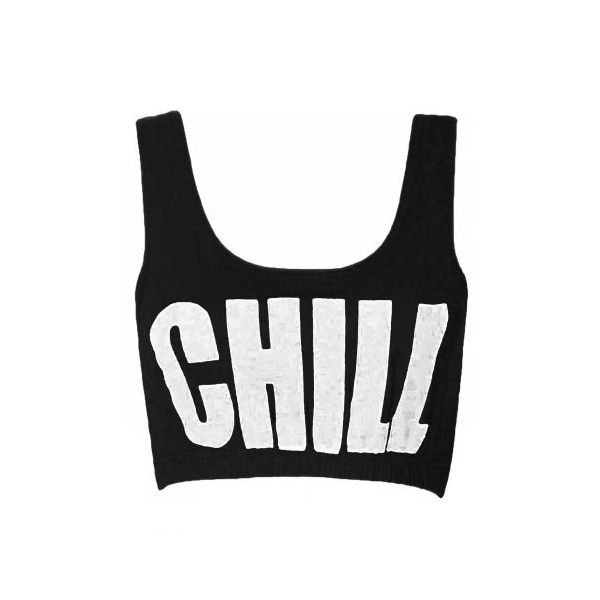 Black Chill Text Slogan Bralet Vest Top - Polyvore